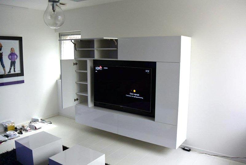Tv Meubel Met Veel Bergruimte.Tv Wandmeubel Op Maat Met Veel Bergruimtezaal Meubelfabriek