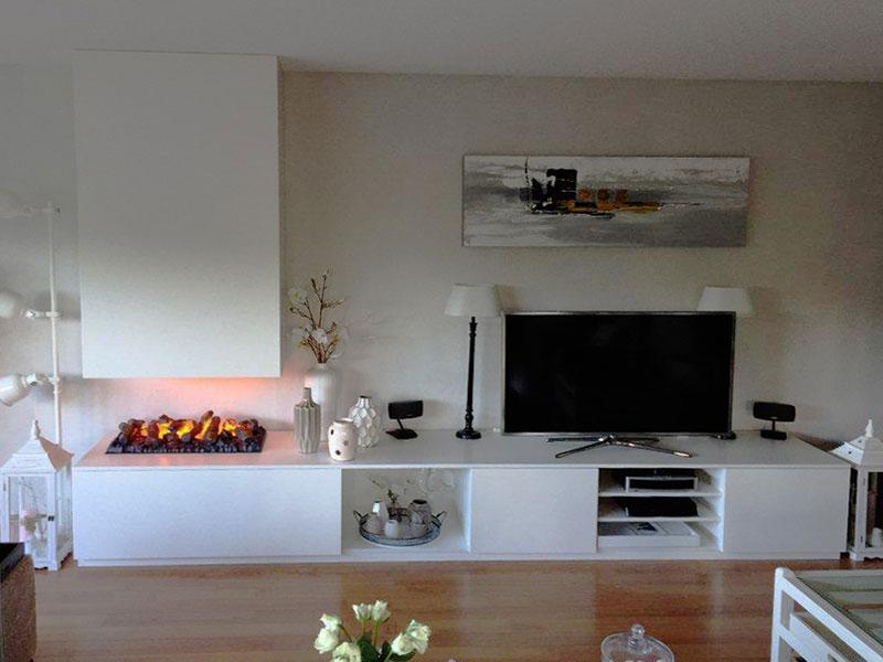Een Tv-meubel Gecombineerd Met Een Elektrische HaardZaal